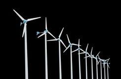 在黑背景可选择能源的风轮机隔绝的 免版税库存图片