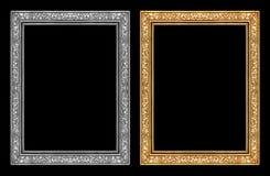 在黑背景和灰色框架隔绝的葡萄酒金子,裁减路线 库存图片