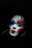 在黑背景的丑角面具 免版税库存照片