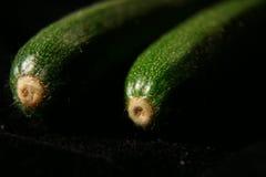 在黑背景的两个绿皮胡瓜 库存图片