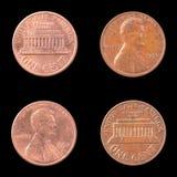 在黑背景的两枚美国硬币 库存图片