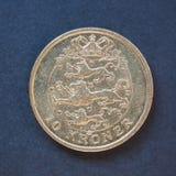 10在黑背景的丹麦克郎硬币 免版税库存图片