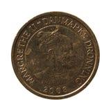 10在黑背景的丹麦克郎硬币 图库摄影