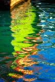 在水背景的五颜六色的阴影 免版税图库摄影