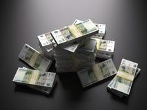 在黑背景的俄罗斯卢布组装 免版税库存照片