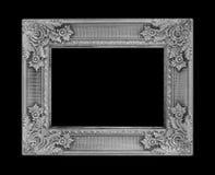 在黑背景的古色古香的灰色框架 图库摄影