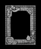 在黑背景的古色古香的灰色框架 免版税库存照片