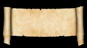 在黑背景的古色古香的羊皮纸纸卷 库存图片