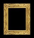 在黑背景的古色古香的金框架 库存图片