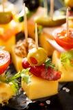 在黑背景的各种各样的乳酪串 免版税图库摄影