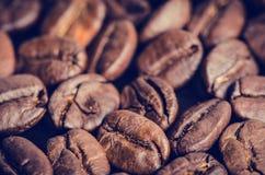 在黑背景的咖啡豆 原始豆的咖啡 成颗粒状的产品 热的饮料 关闭 免版税库存照片