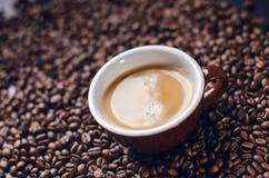 在黑背景的咖啡豆 原始豆的咖啡 成颗粒状的产品 库存图片