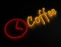 在黑背景的咖啡霓虹灯广告 库存例证