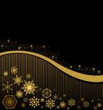 在黑背景的圣诞卡与金条纹 免版税库存照片