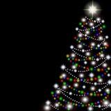 在黑背景的圣诞树。传染媒介 库存照片