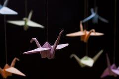 在黑背景的多彩多姿的Origami起重机 免版税库存图片