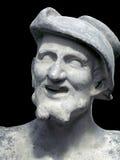 在黑背景的德谟克利特雕塑 免版税库存照片