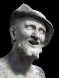 在黑背景的德谟克利特雕塑 库存照片