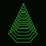 在黑背景的技术绿色光亮的xmas树 免版税库存照片