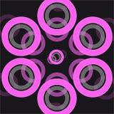 在黑背景的抽象圆环 库存图片