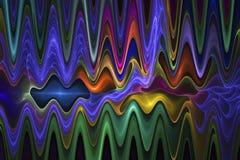 在黑背景的抽象荧光的波浪 免版税库存图片