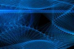 在黑背景的抽象蓝线 线艺术 传染媒介illu 免版税图库摄影