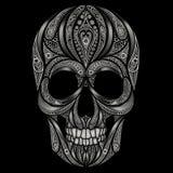 在黑背景的抽象头骨样式 图库摄影
