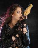在黑背景的摇滚明星 免版税库存照片