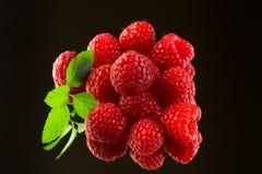 在黑背景的新鲜的有机成熟莓 免版税库存图片