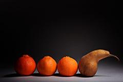 在黑背景的新鲜水果 库存照片