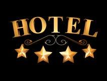 在黑背景的旅馆标志- 4个星& x28; 3D illustration& x29; 库存照片