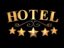 在黑背景的旅馆标志- 5个星& x28; 3D illustration& x29; 库存照片