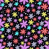 在黑背景的无缝的花卉样式 图库摄影