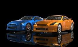 在黑背景的橙色和蓝色金属汽车 免版税库存照片