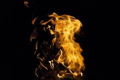 在黑背景的火火焰 免版税库存照片