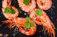在黑背景的烤虾 可口海鲜开胃菜供食煮沸或烤用香料 关闭 图库摄影