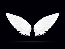 在黑背景的现实白色翼 免版税库存图片