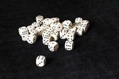 在黑背景的白色赌博立方体 图库摄影
