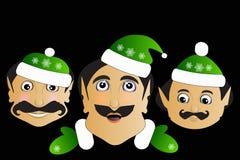 在黑背景的矮子象基本的被简化的圣诞节兴高采烈的面孔 图库摄影