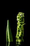 在黑背景的秋葵 免版税库存图片
