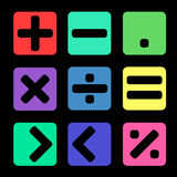 在黑背景的算术标志 库存照片