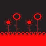 在黑背景的红色和黑花例证 库存图片