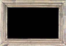 在黑背景的老银色画框 库存照片