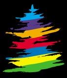 在黑背景的色的圣诞树 免版税库存图片