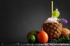 在黑背景的菠萝、芒果、柑橘,椰子,薄荷和新鲜薄荷 不同的异乎寻常的果子的构成 免版税库存照片