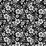 在黑背景的葡萄酒无缝的白色花卉样式 也corel凹道例证向量 免版税库存照片