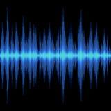 在黑背景的蓝色声波 向量 库存图片