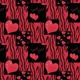 在黑背景的补缀品无缝的样式纹理红色 免版税库存图片