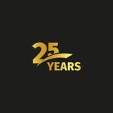 在黑背景的被隔绝的抽象金黄第25个周年商标 25个数字略写法 二十五年周年纪念 免版税库存图片