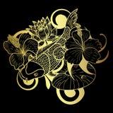 在黑背景的金子Koi鱼和花日本纹身花刺 库存图片